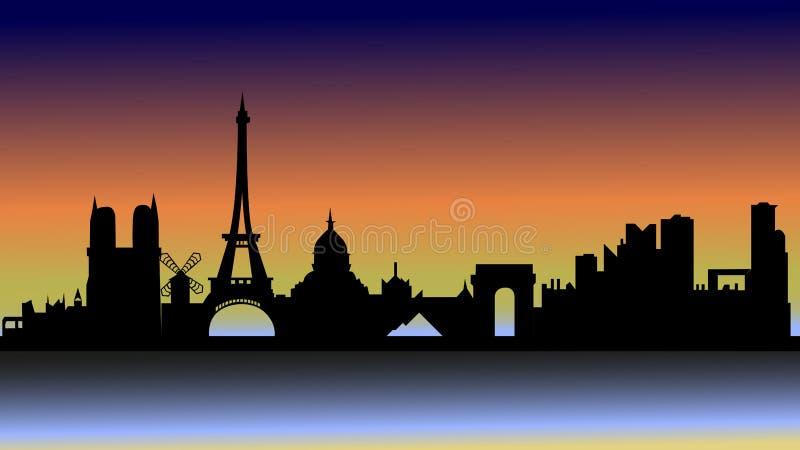 Solnedgång över Paris i kontur stock illustrationer