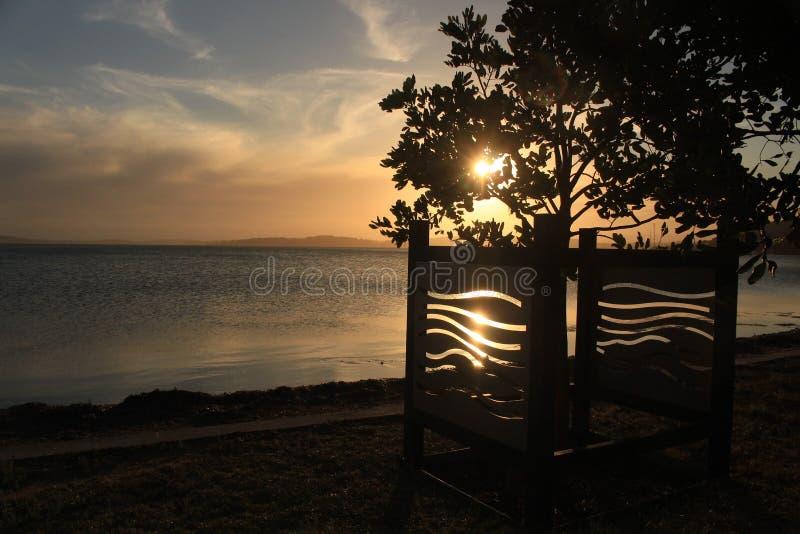 Solnedgång över sjön Macquarie royaltyfri bild