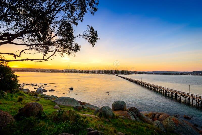 Solnedgång över Victor Harbor royaltyfria bilder