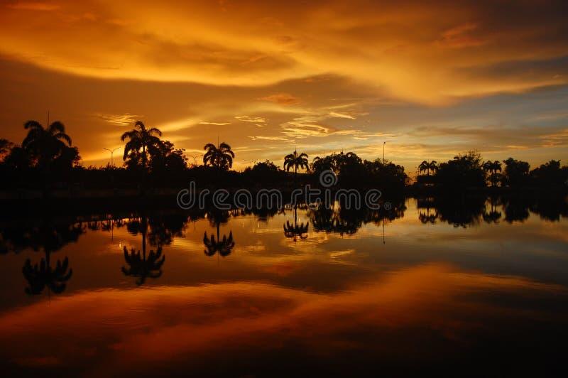 Solnedgång av brand över sjön och palmträd i den tropiska ön av Borneo i Kota Kinabalu, Malaysia Spektakulärt Co arkivbilder