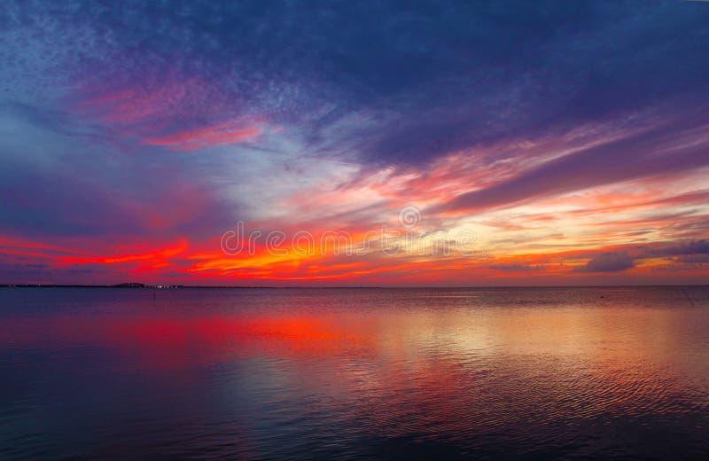 Solnedgång av den södra fältprästön som ser in mot fastlandet arkivfoto