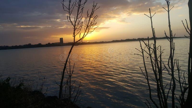 Solnedgång Bahir Dar arkivfoto