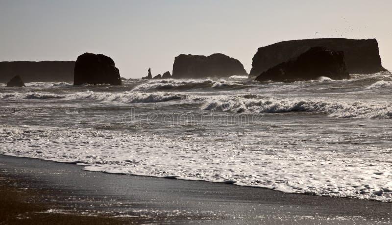 Solnedgång Bandon Oregon arkivfoton