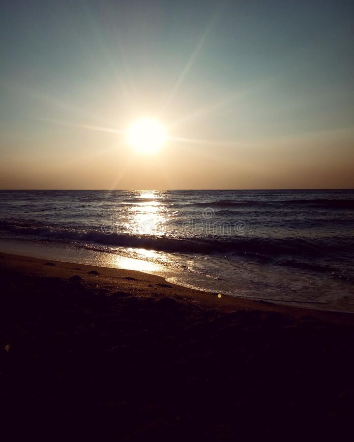 Solnedgång Black Sea, odessa royaltyfri foto