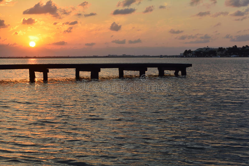 Solnedgång Cancun royaltyfri fotografi