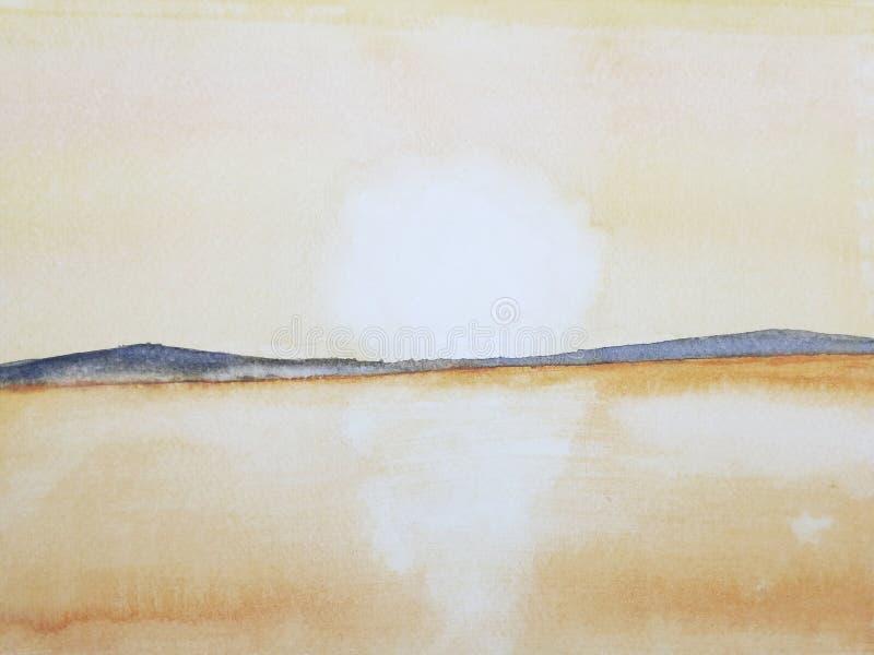 Solnedgång eller soluppgång för hav för vattenfärgmålninglandskap på bergön royaltyfri illustrationer