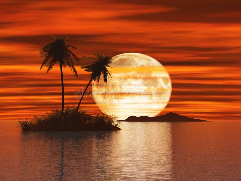 solnedgång för ö 3d royaltyfri illustrationer