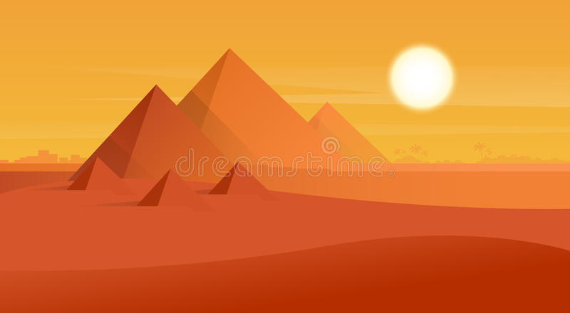 Solnedgång för ökensiktsEgypten pyramider royaltyfri illustrationer