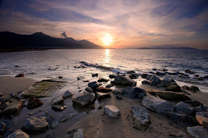 solnedgång för aegean hav royaltyfria bilder