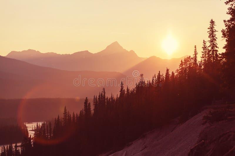 solnedgång för caucasus georgia gudauriberg royaltyfri foto