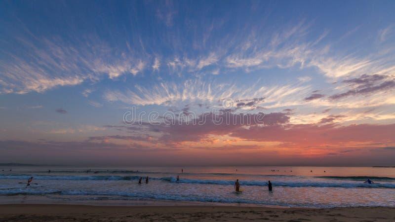 Solnedgång för Durban Cityscapesoluppgång arkivfoto