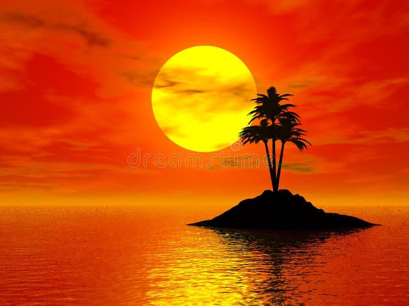 solnedgång för foto 3d royaltyfri illustrationer