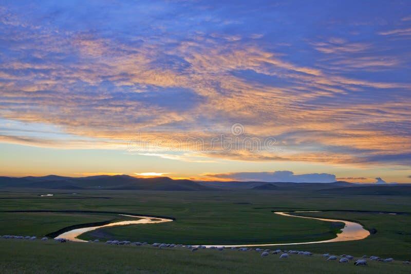 solnedgång för glödpräriesommar fotografering för bildbyråer