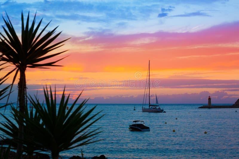 Solnedgång för Mallorca portde Andratx i Mallorca royaltyfri foto