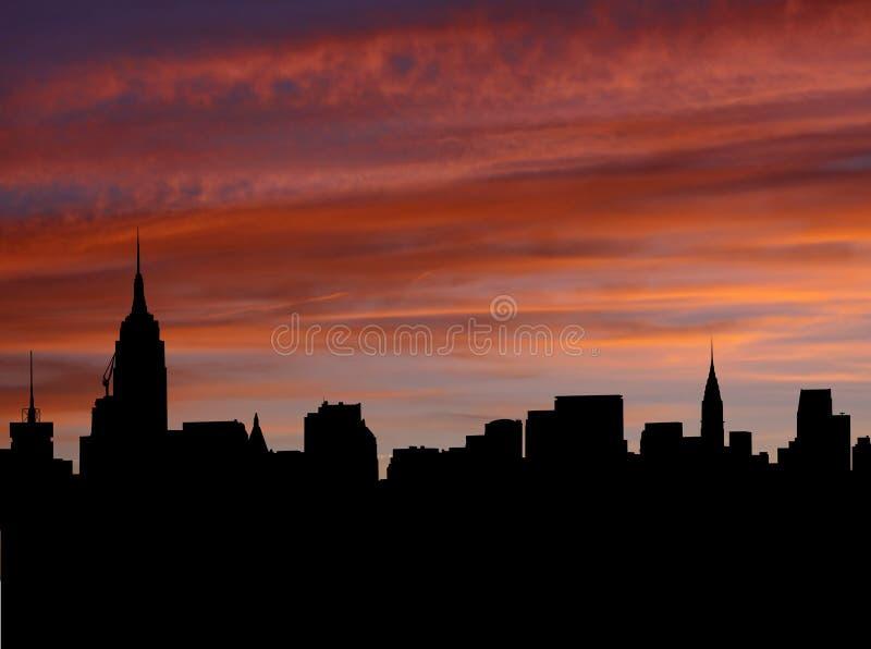 solnedgång för manhattan midtownhorisont stock illustrationer