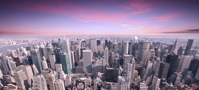 Solnedgång för NYC-stadshorisont royaltyfri fotografi