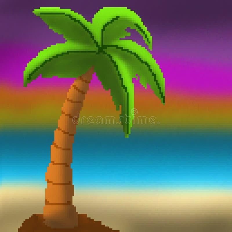 Solnedgång för palmträd för bit för PIXEL 8 utdragen på den sandiga stranden vektor illustrationer