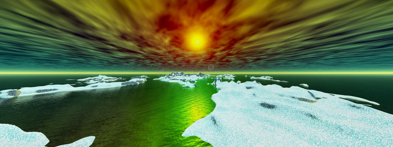 solnedgång för panorama- perspektiv för öar snöig stock illustrationer