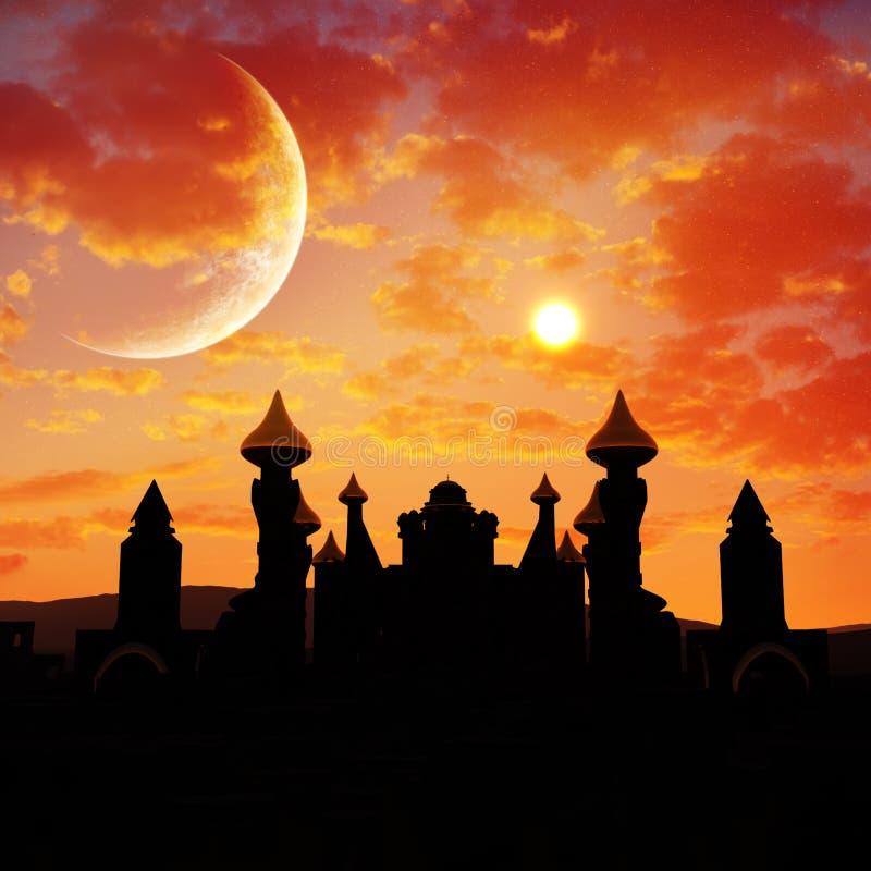 Solnedgång för sagaslottöken stock illustrationer