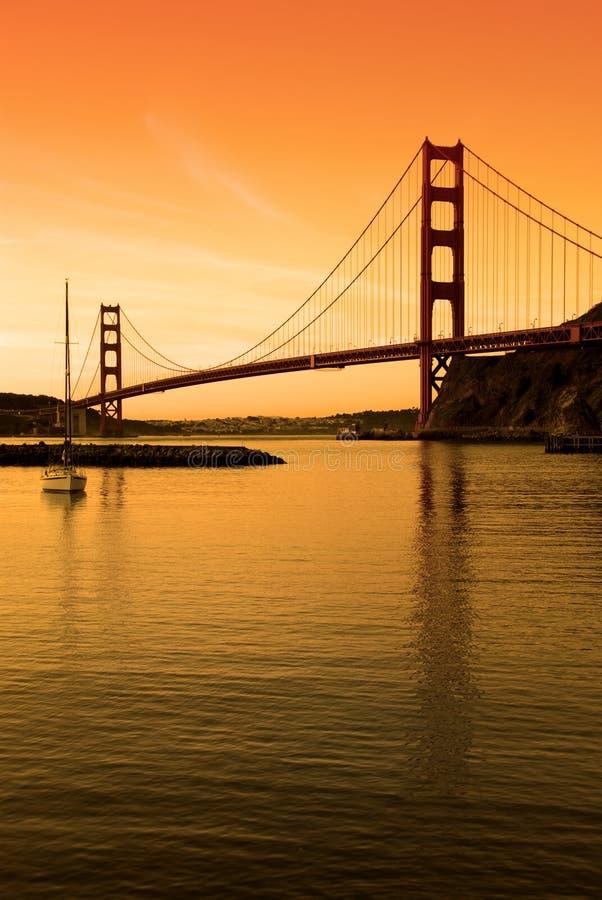 solnedgång för sf för broport guld- arkivbilder