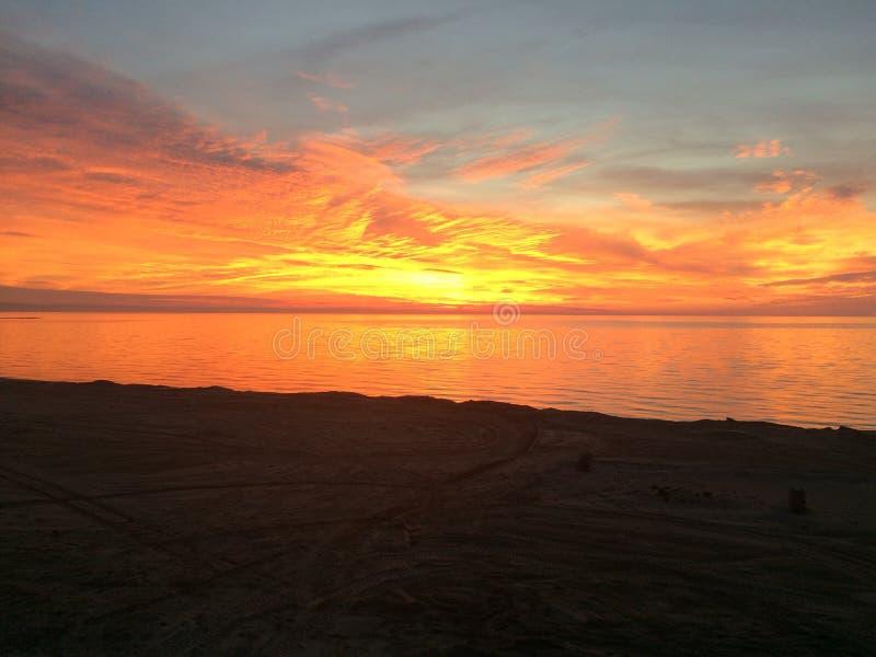 solnedgång för 2 strand royaltyfri fotografi
