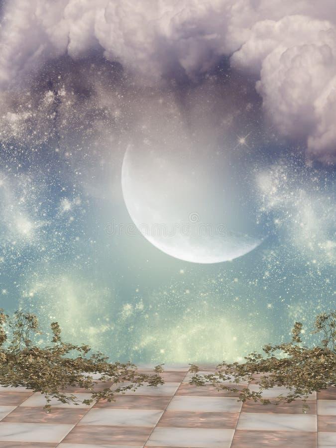 solnedgång för sun för sky för lampa för fågelfantasiliggande magisk stock illustrationer