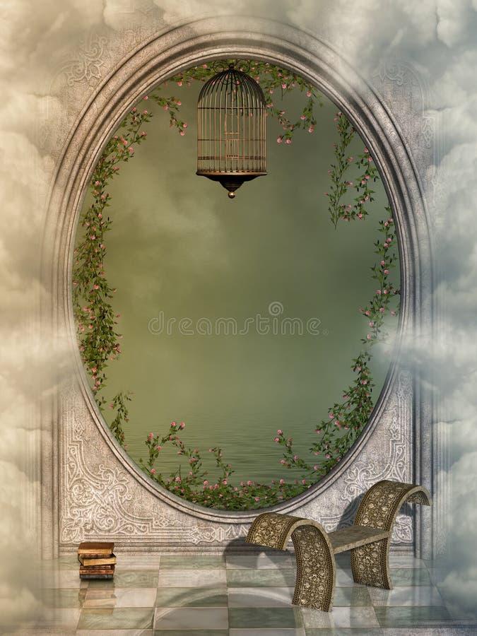 solnedgång för sun för sky för lampa för fågelfantasiliggande magisk royaltyfri illustrationer
