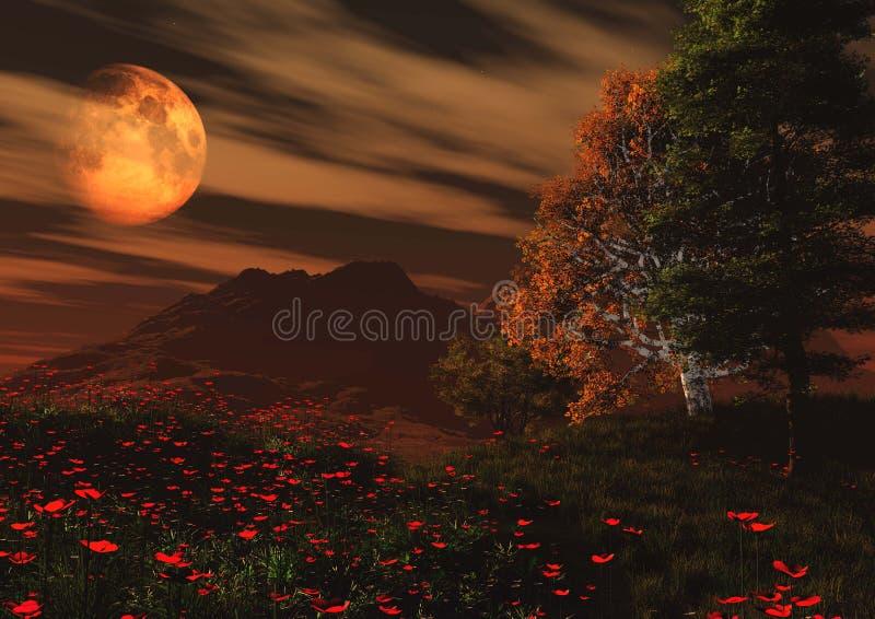 solnedgång för sun för sky för lampa för fågelfantasiliggande magisk vektor illustrationer