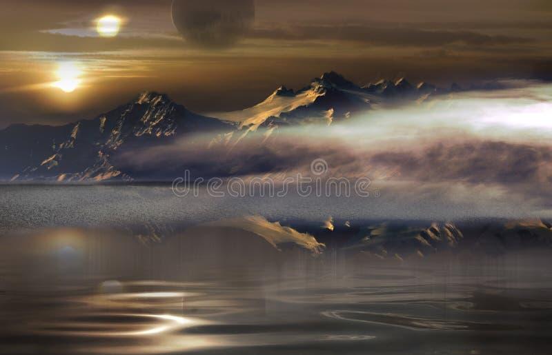 Solnedgång för två solar stock illustrationer