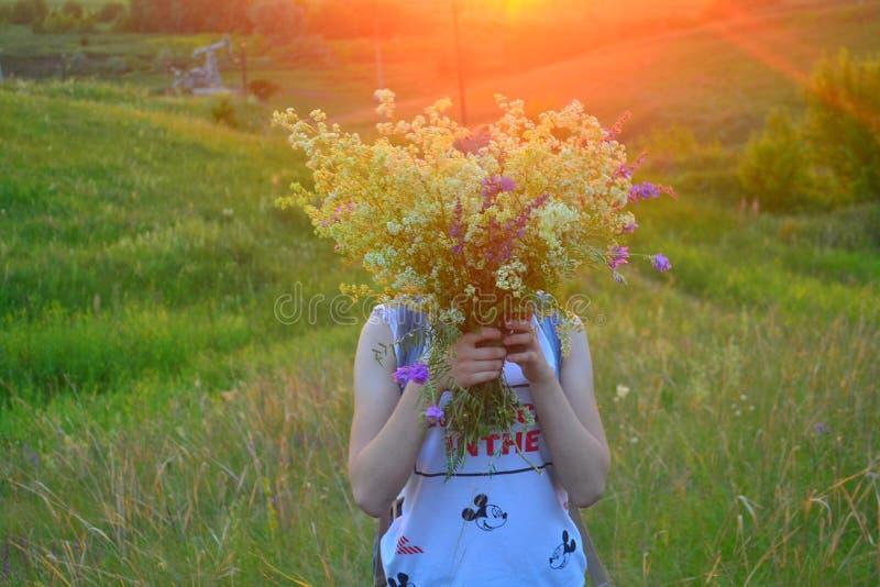 Solnedgång flicka fotografering för bildbyråer