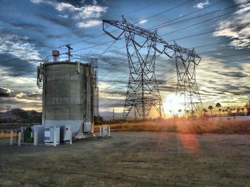 Solnedgång från Anaheim kullar/Yorba Linda royaltyfri foto