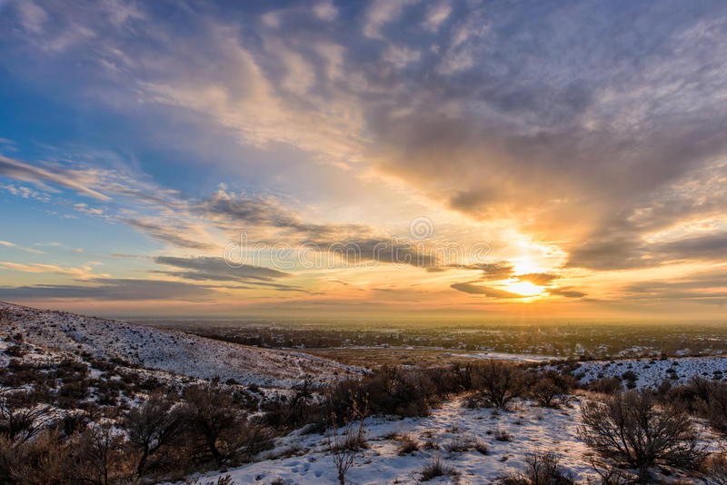 Solnedgång från Boise Foothills royaltyfri foto