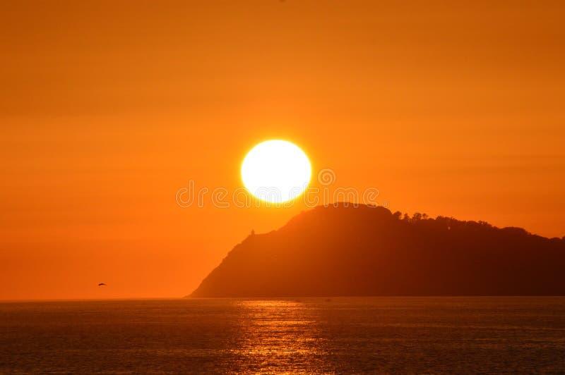 Solnedgång från stranden royaltyfria bilder