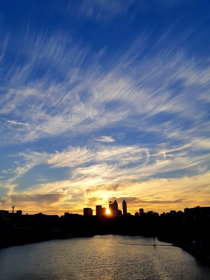 Solnedgång i östliga Perth royaltyfria foton