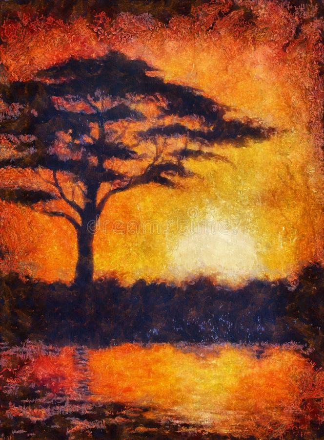 Solnedgång i africa med en trädkontur, härlig färgrik målning, med fullföljande för datordiagram, aquarelleffekt royaltyfri illustrationer