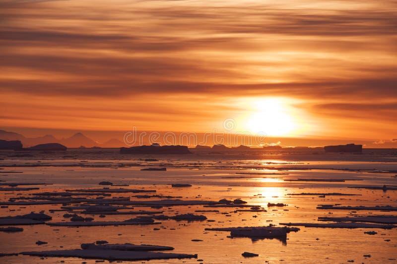 Solnedgång i Antarktis royaltyfri bild