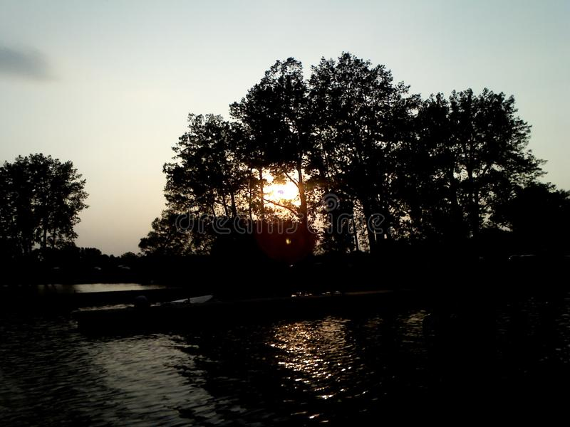 Solnedgång i Belleville, Ontairo arkivbild