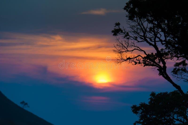 Solnedgång i berg, trädkontur med den sceniska solnedgångsolen över arkivbild