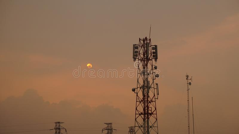 Solnedgång i Bintaro royaltyfria bilder