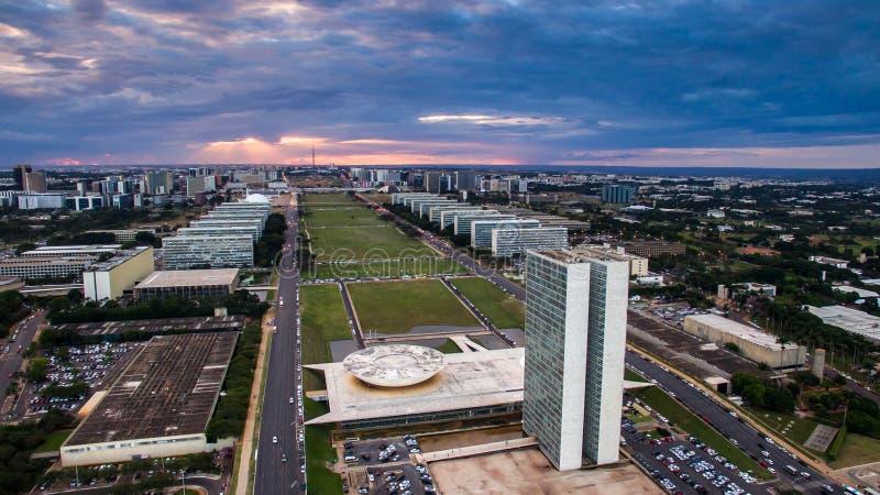 Solnedgång i Brasilia arkivfoto