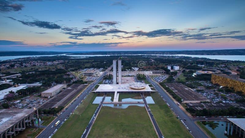 Solnedgång i Brasilia fotografering för bildbyråer