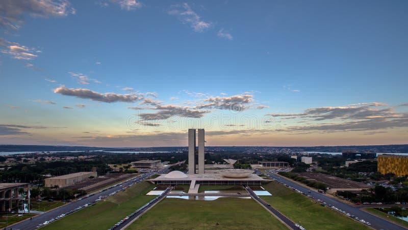 Solnedgång i Brasilia royaltyfria foton