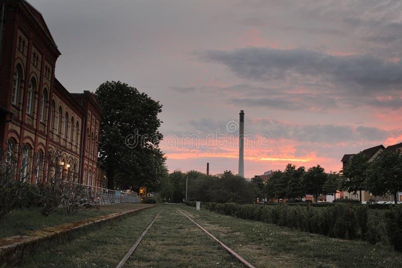 Solnedgång i Braunschweig royaltyfri fotografi