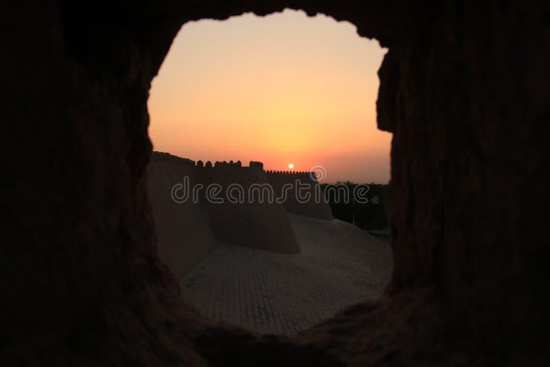 Solnedgång i Bukhara arkivbilder