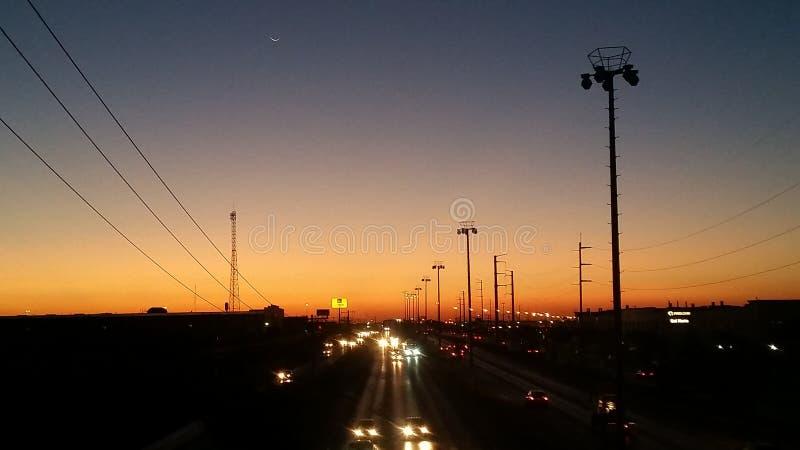 Solnedgång i Ciudad Juarez, Chihuahua, Mexico royaltyfri fotografi