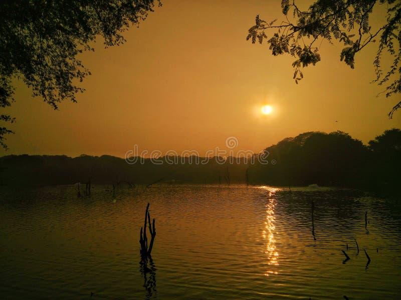 Solnedgång i delhi royaltyfri fotografi