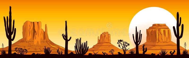 Solnedgång i den Arizona öknen royaltyfri illustrationer