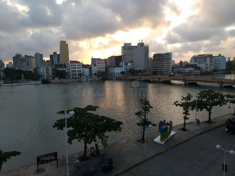 Solnedgång i den gamla Recife grannskapen royaltyfria foton