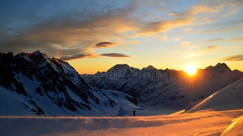 Solnedgång i den Tasman glaciären fotografering för bildbyråer