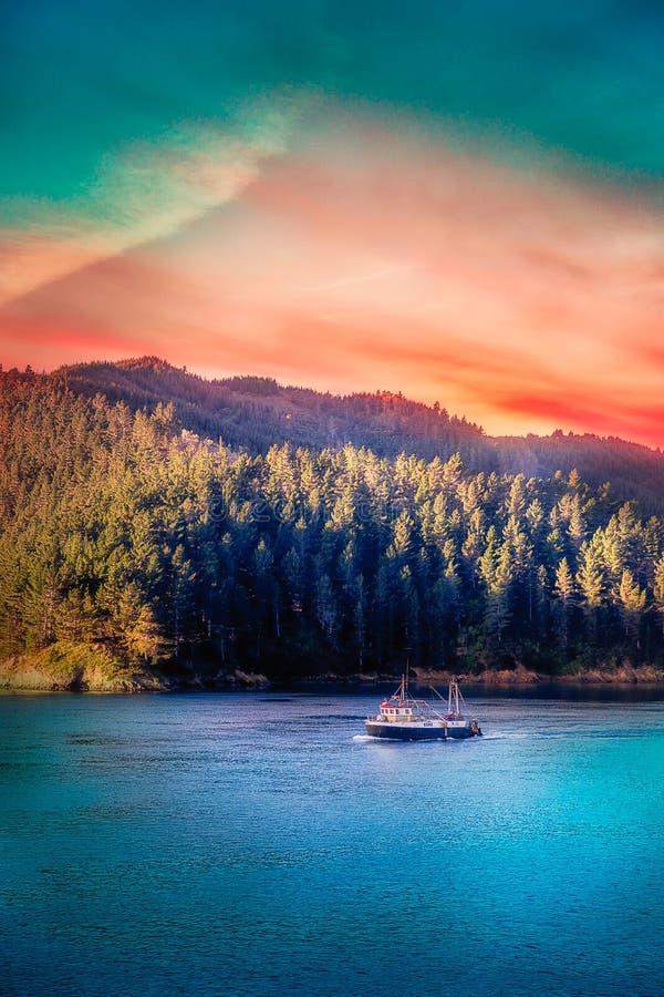 Solnedgång i det Marlborough ljudet royaltyfri foto